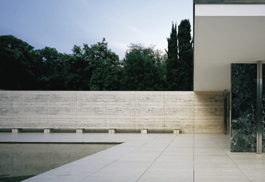Mies Van der Rohe Pavillon exterior, a must visit for design lovers in Barcelona