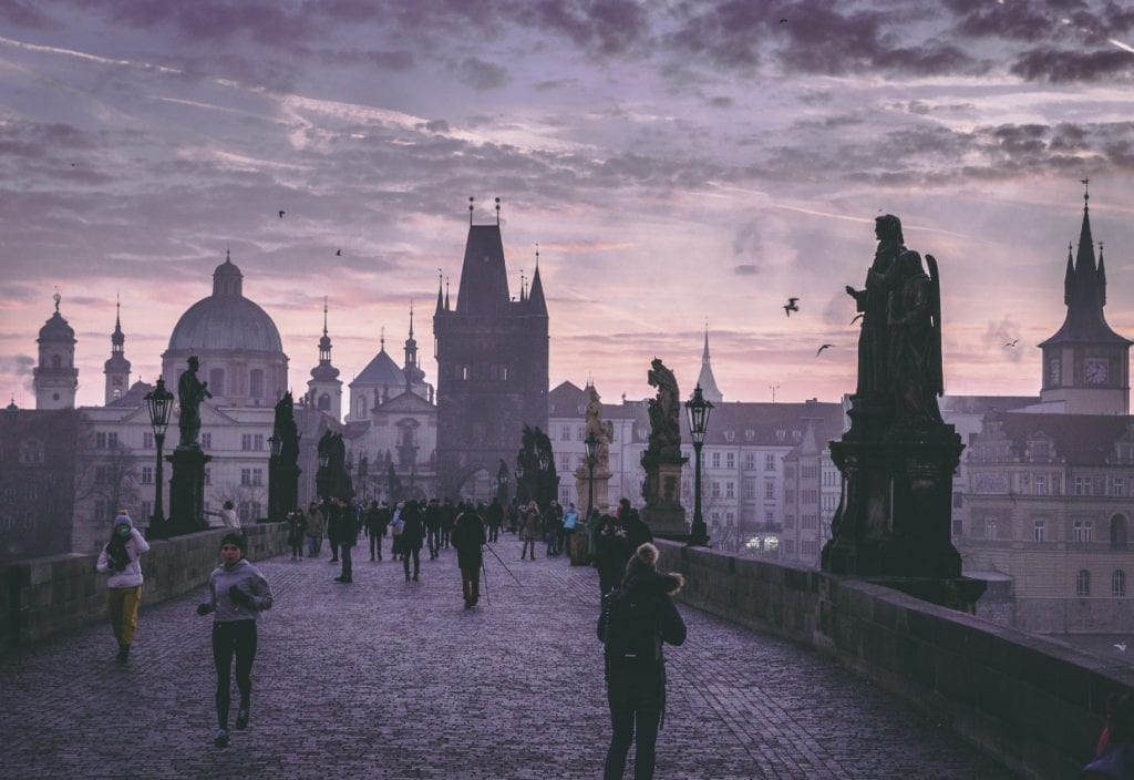 The Charles Bridge one of the Prague Hidden Gems (at night)